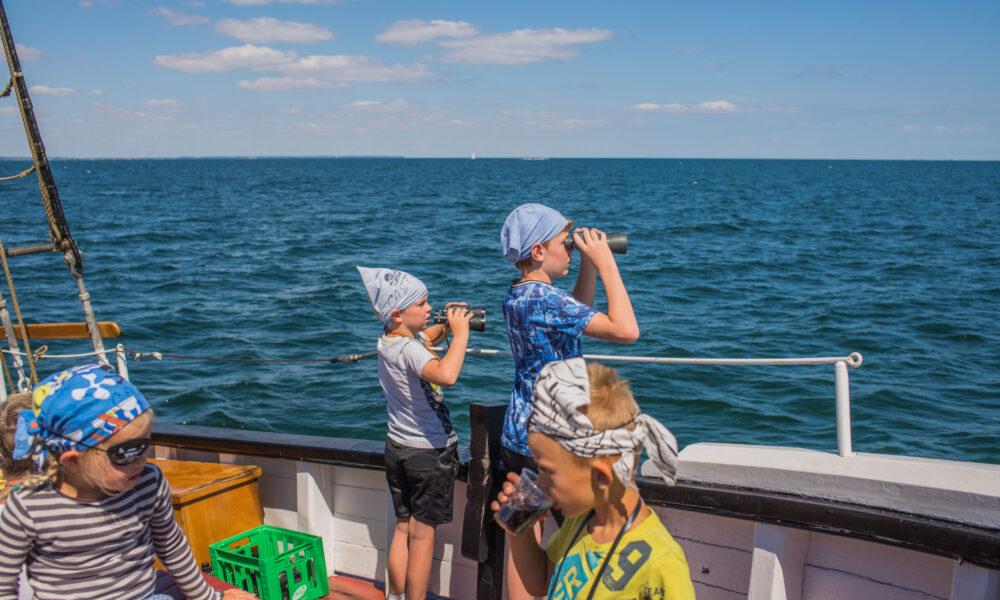 Piraten schauen über das Meer hinaus